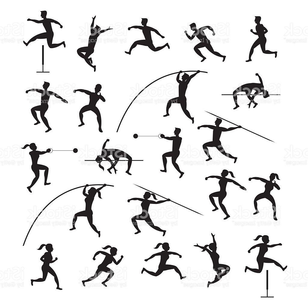 1024x1024 Best Free Sports Athletes Track And Field Silhouette Set Vector
