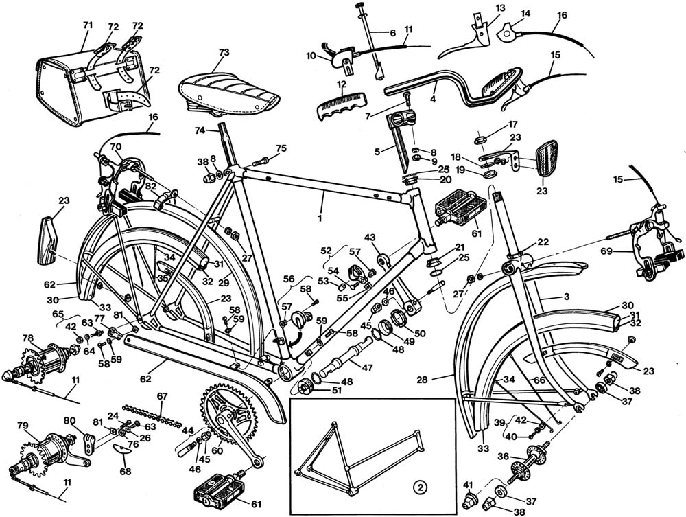 1000x753 Raleigh Sports Dl22 Bicycle Exploded Drawing From 1977 Raleigh