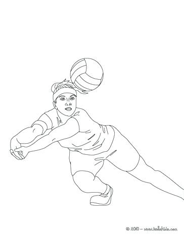 364x470 Sports Balls Coloring Pages Volleyball Player Digging The Ball