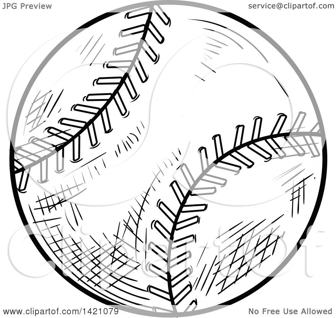 1080x1024 Sports Clipart Of A Black And White Sketched Baseball Or Softball
