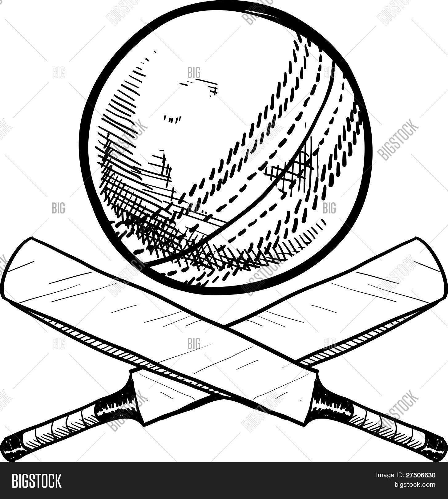 1455x1620 Cricket Sports Equipment Sketch Vector Amp Photo Bigstock