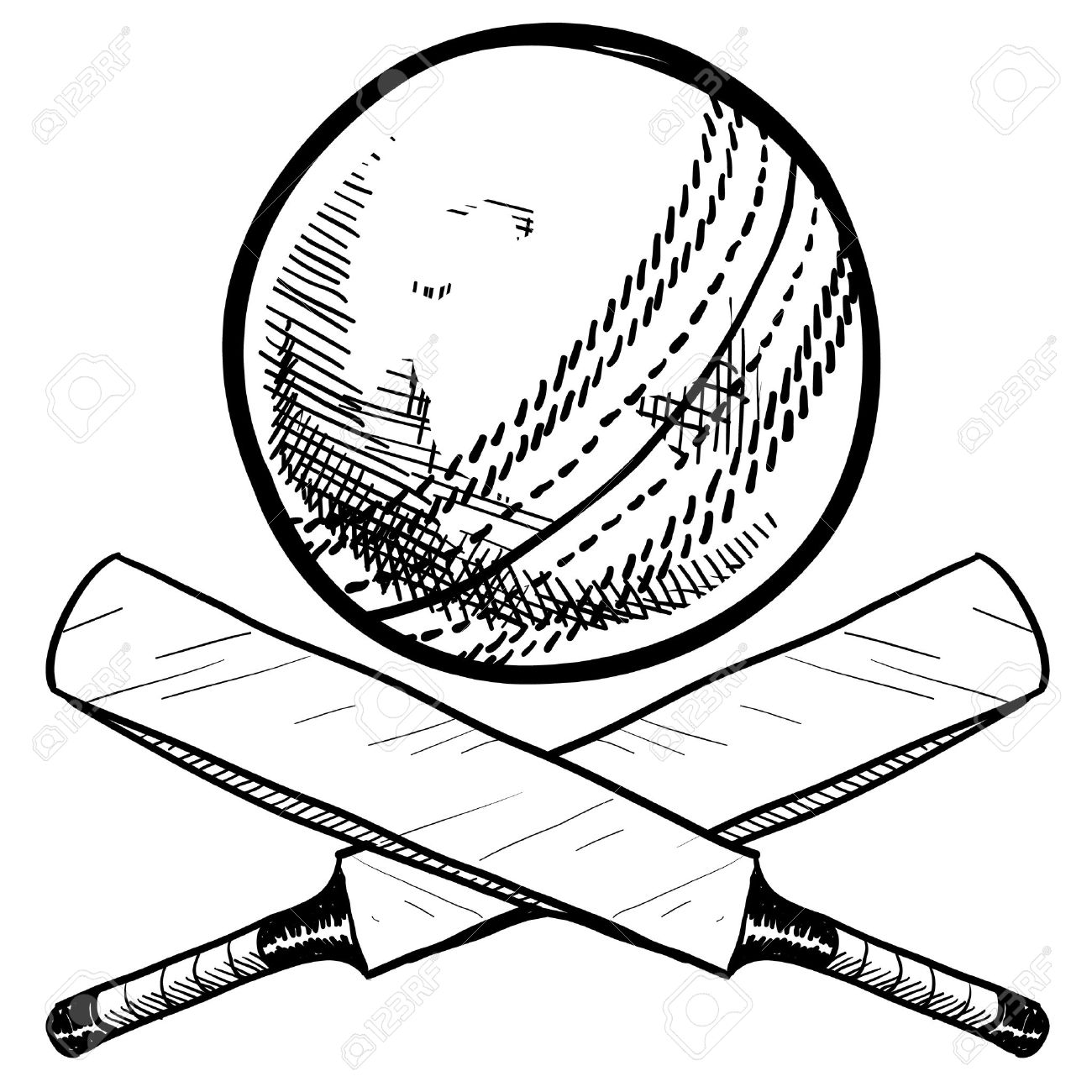 1300x1300 Doodle Style Cricket Sports Equipment Including Ball And Bat