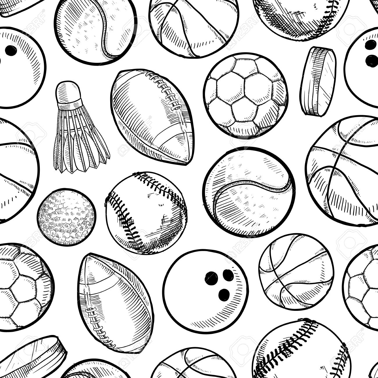 1300x1300 Doodle Style Sports Equipment Seamless Stock Photo, Picture