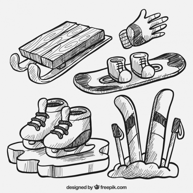 626x626 Pack Of Hand Drawn Winter Sports Equipment Vector Free Download