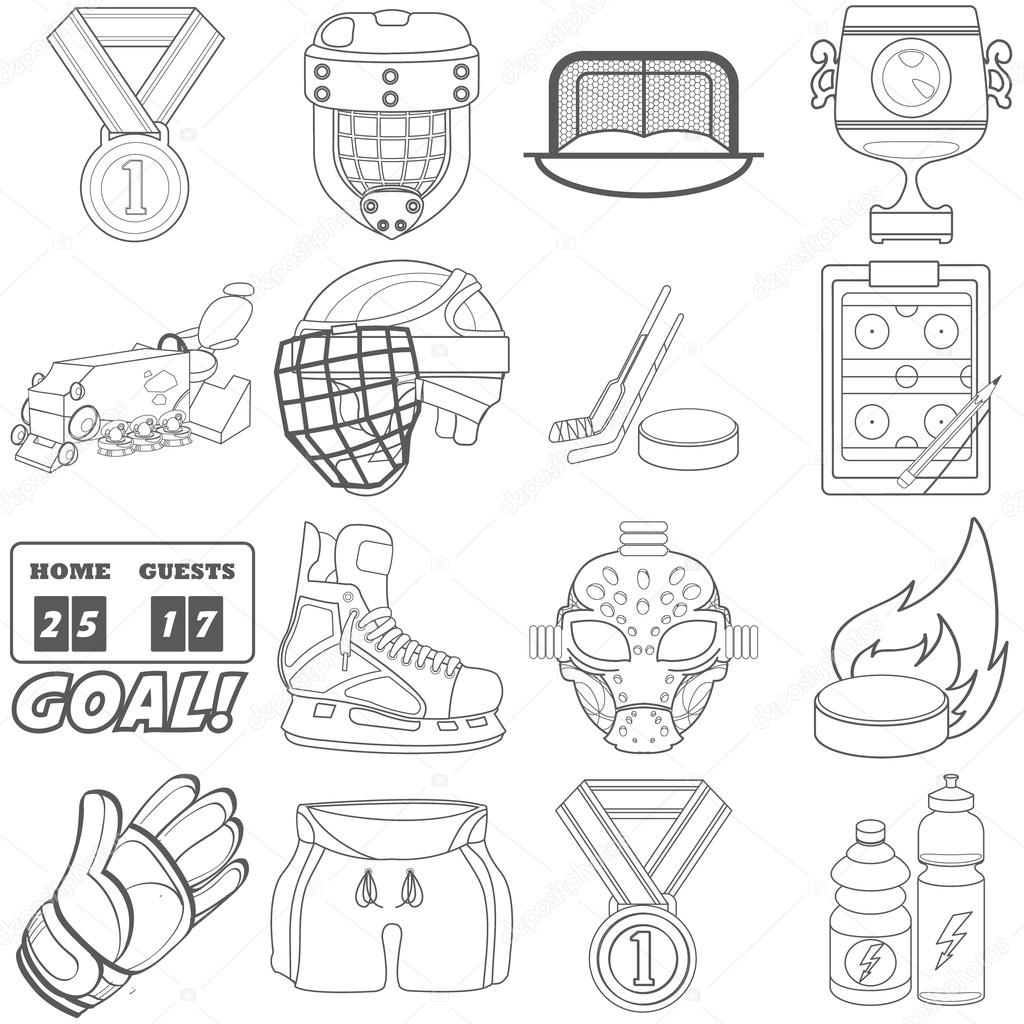 1024x1024 A Set Of Sports Equipment Black And White Outline Drawing. Stock