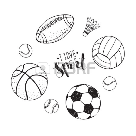 450x450 Collection Of Vector Sport Equipment. I Love Sports Illustration