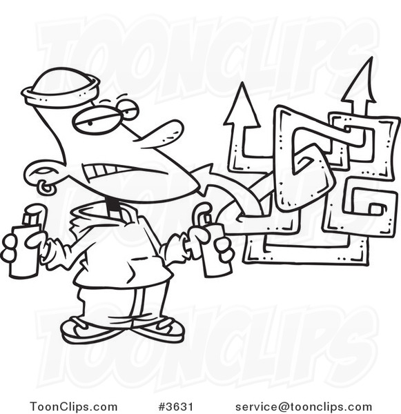 581x600 Cartoon Black And White Line Drawing Of A Punk Boy Spray Painting