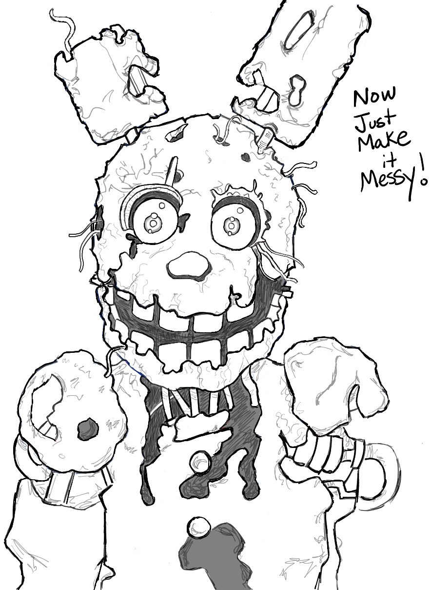 884x1209 How To Draw Springtrap From Five Nights
