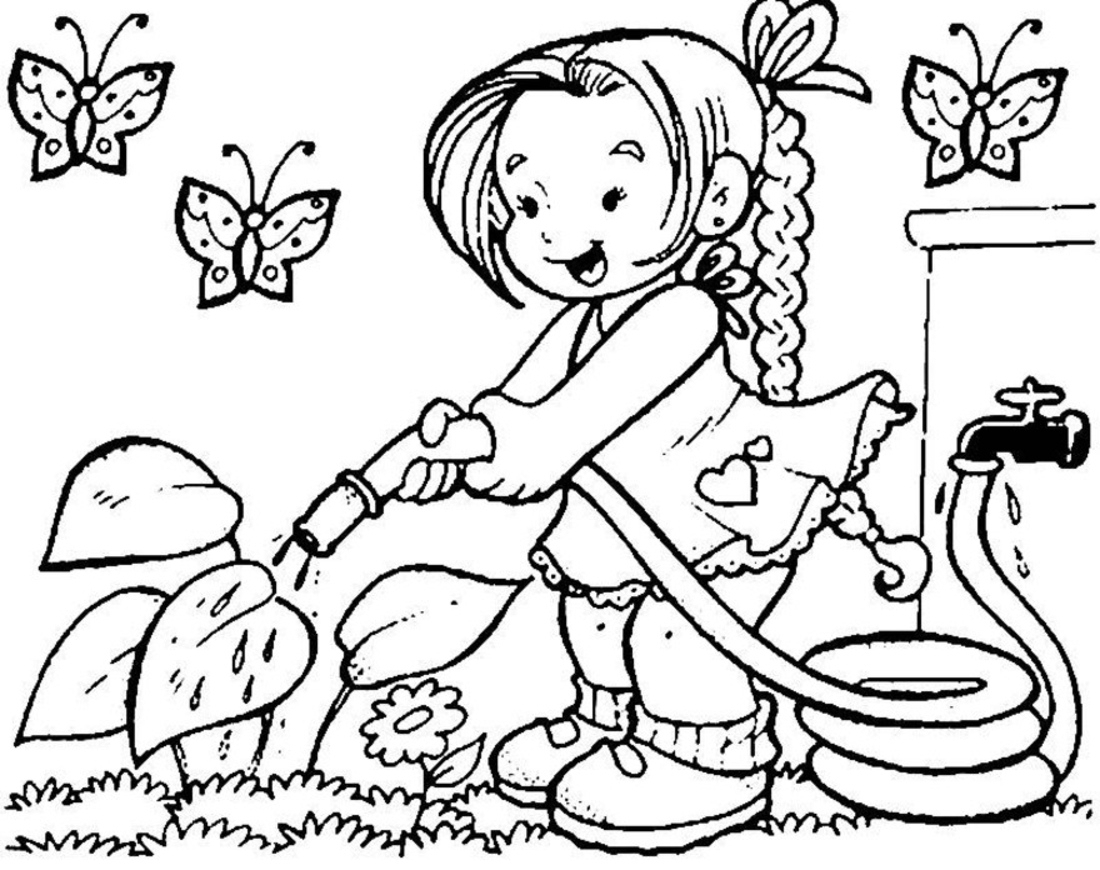 1100x870 Pencil Drawing Of Spring Season For Kids
