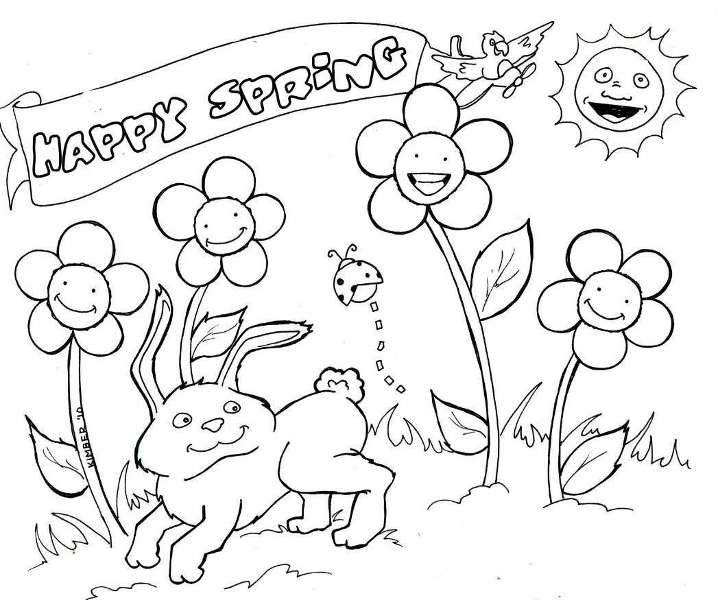 1047x875 Spring Coloring Pages, Printable Spring Coloring Pages, Free