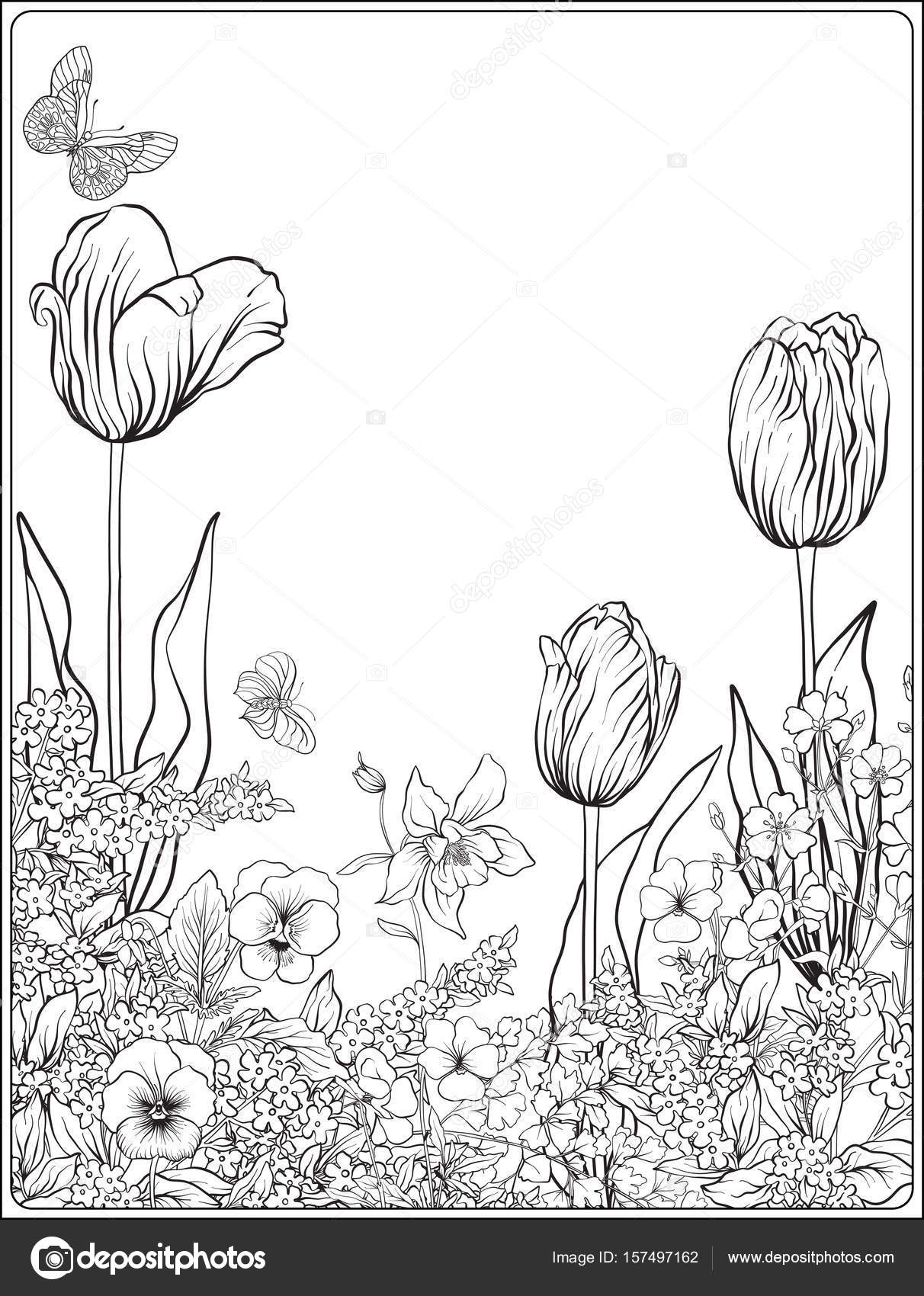 1212x1700 Composition With Spring Flowers Tulips, Daffodils, Violets,