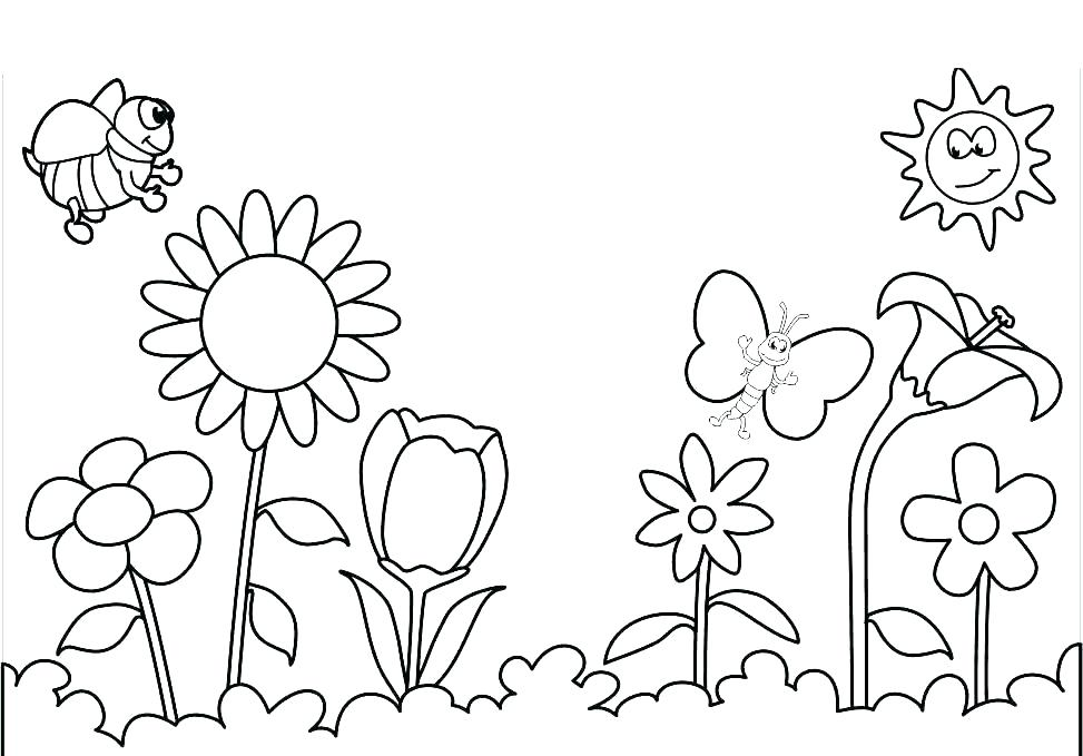973x679 Cool Flower Coloring Pages Coloring Flower Pages Coloring Spring