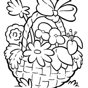 300x300 Basket Of Flowers Drawing Easy