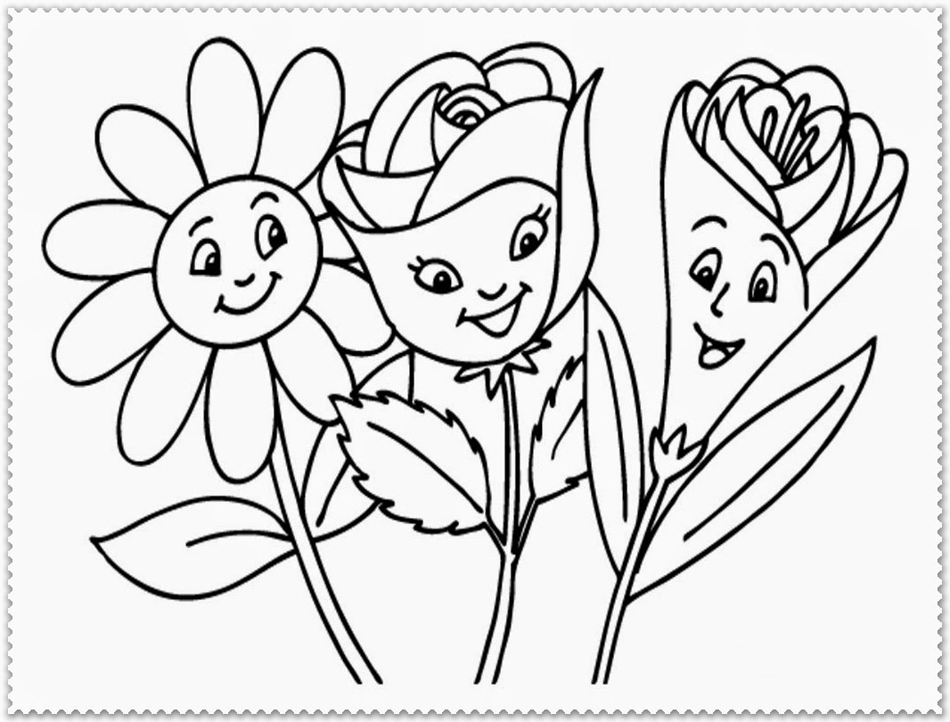 1066x810 Spring Flower Coloring Pages