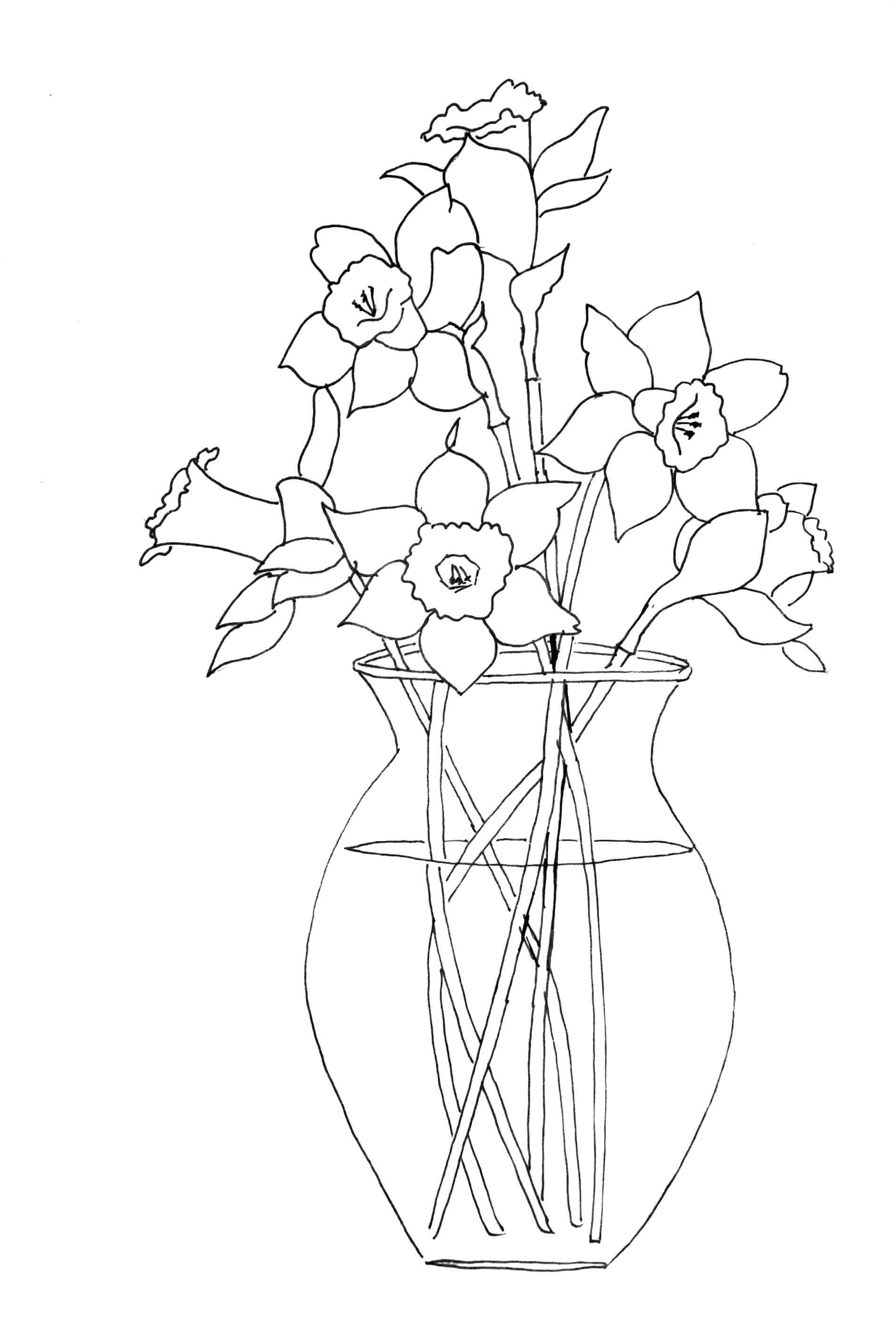 1900x2819 Coloring Coloring Pages Spring Flowers Daffodil Drawing Commons