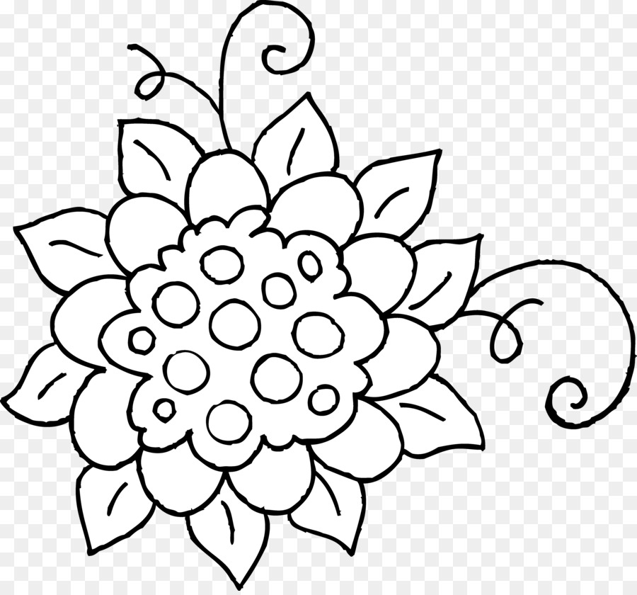 900x840 Black And White Flower Drawing Clip Art