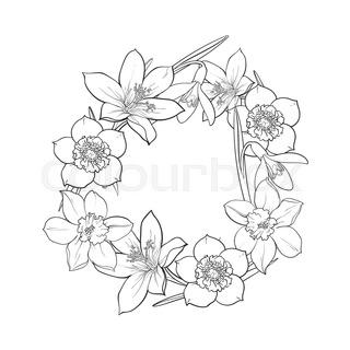 320x320 Half Frame Of Spring Flowers, Decoration Element, Sketch Vector