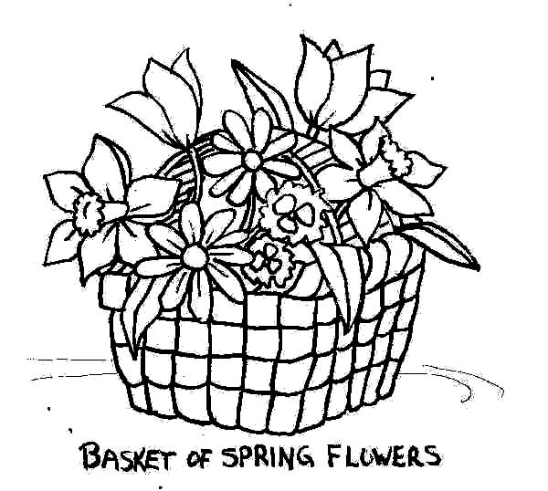Spring flowers drawing at getdrawings free for personal use 600x538 put spring flowers in basket of flowers coloring pages best mightylinksfo