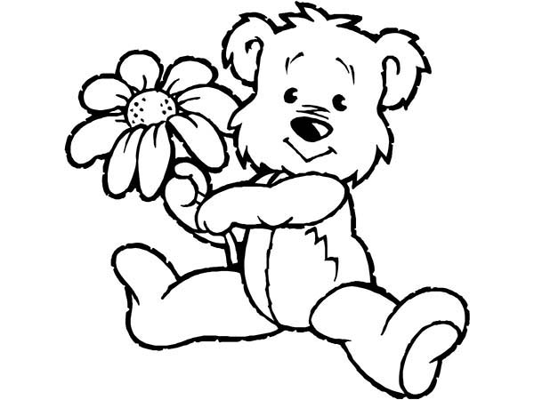 600x450 Spring, Little Bear Holding Spring Flower Coloring Page
