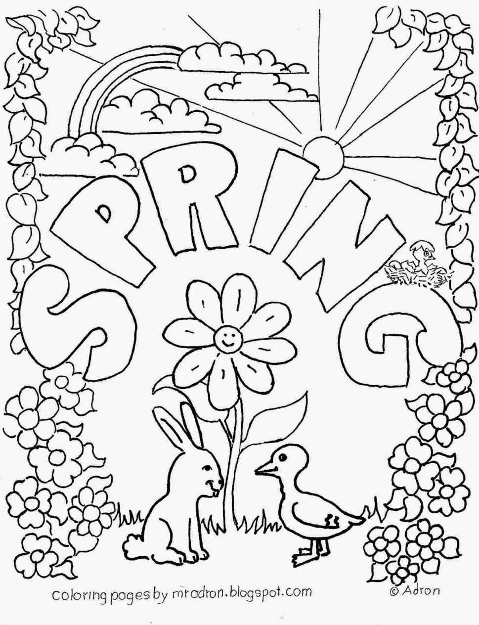 969x1264 Spring Flowers Line Drawing