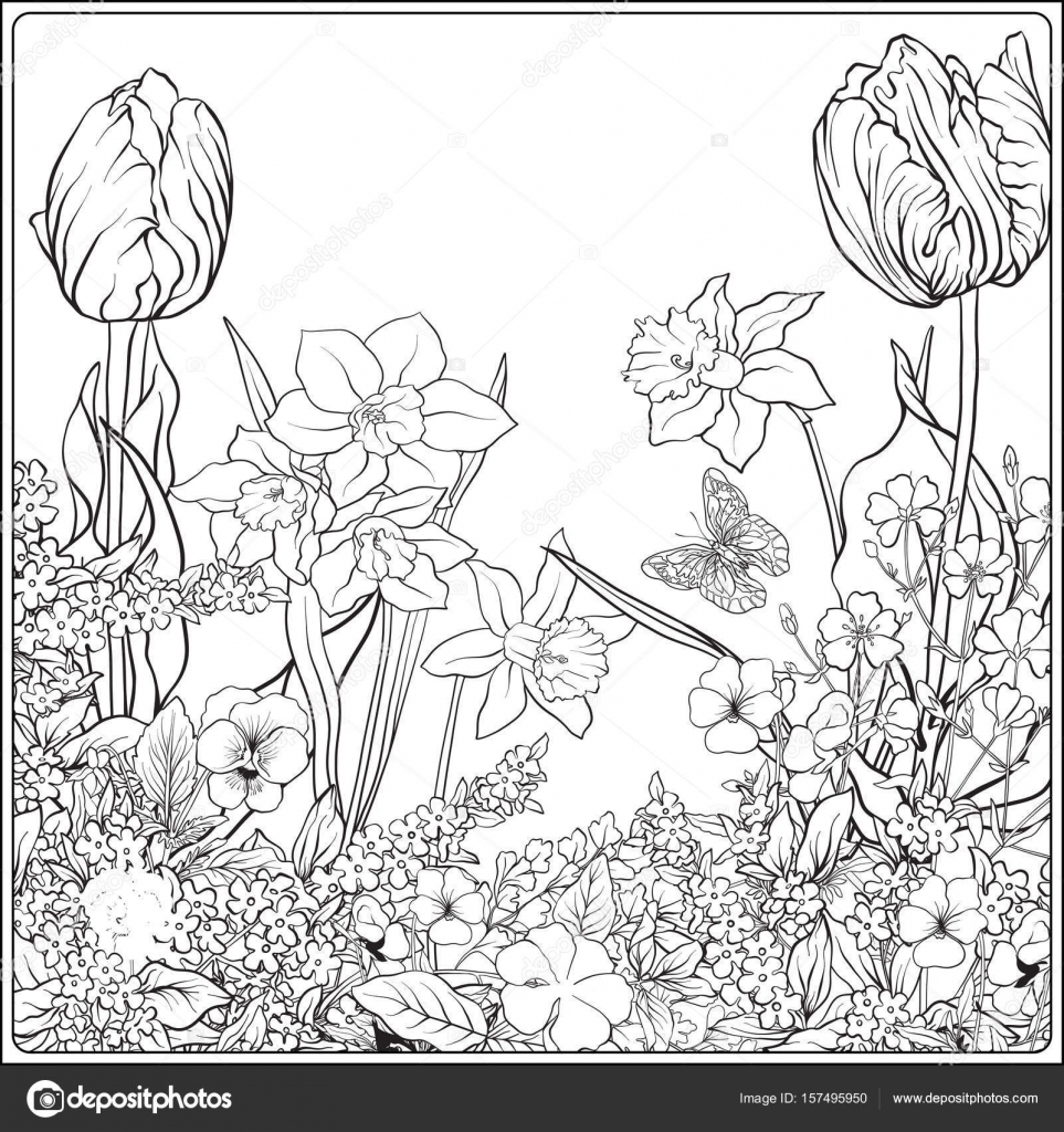 963x1024 Composition With Spring Flowers Tulips, Daffodils, Violets,