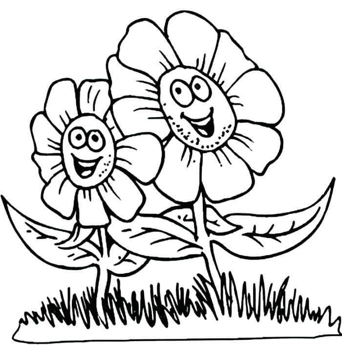 700x707 Drawing Spring Season Coloring Page Nature Printable Pages Images