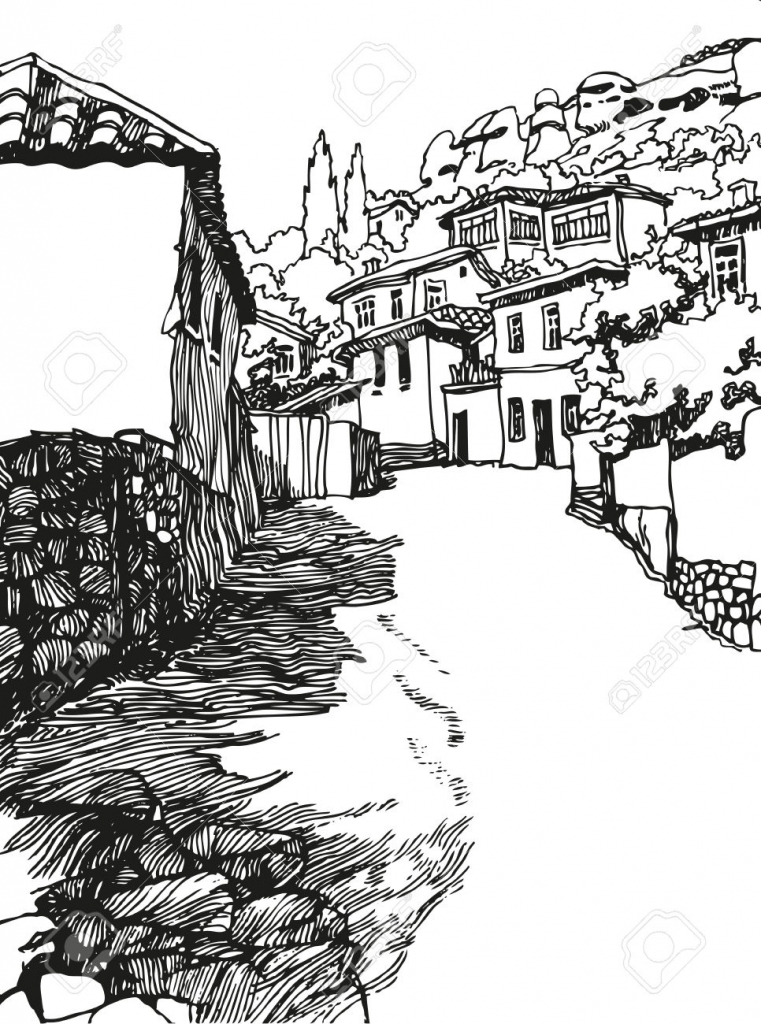761x1024 Landscape Black And White Drawing Early Spring Landscape Royalty