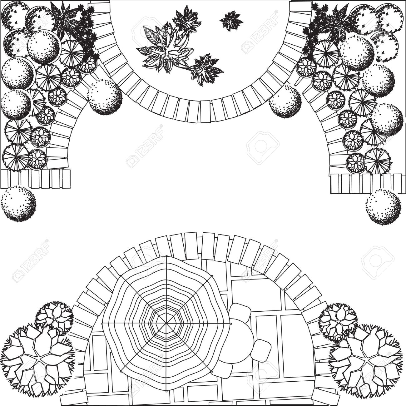 1300x1300 18966676 Plan Of Garden With Plant Symbols Stock. Draw The Final