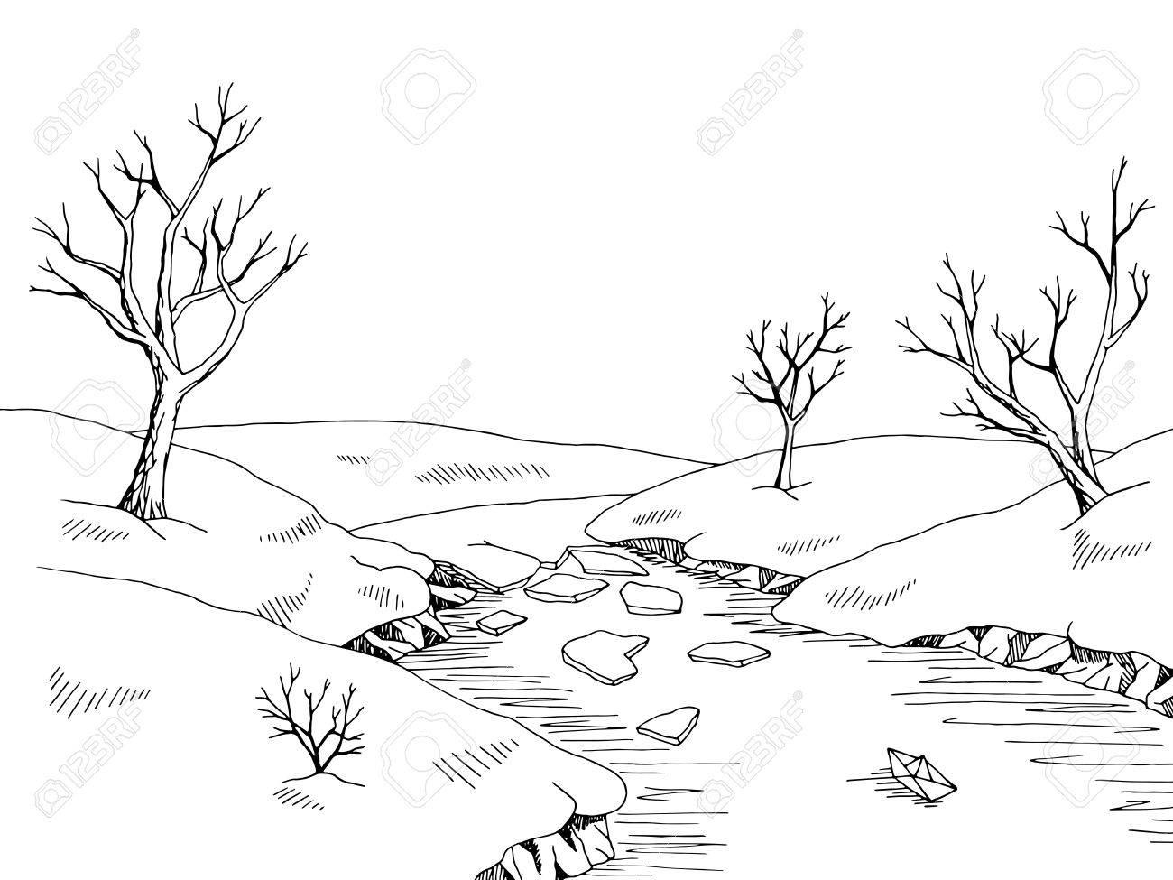 1300x975 Spring River Graphic Black White Landscape Sketch Illustration
