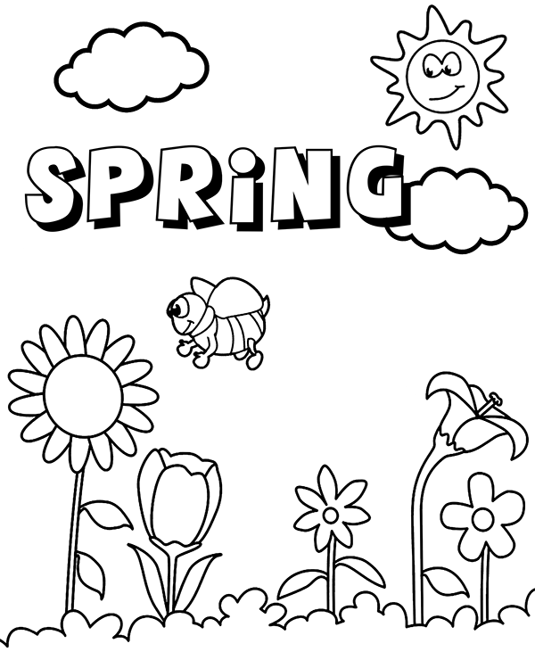 600x740 Spring Landscape To Color To Print Or Download For Free