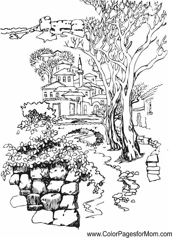 592x820 Landscape Coloring Page 37 Masal Evleri