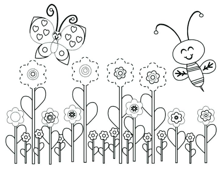 720x556 Coloring Spring Coloring Page Spring Season Nature Printable