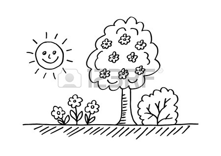 450x318 Drawing Of Spring Landscape On Blackboard Royalty Free Cliparts