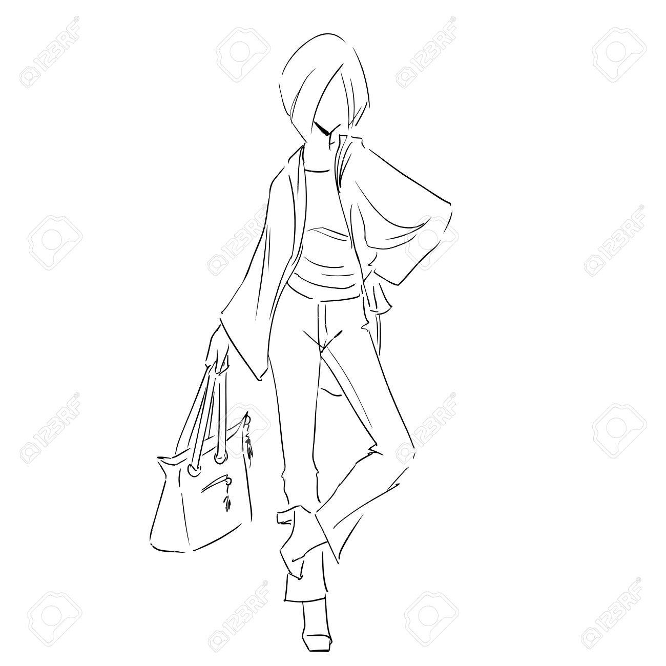 1300x1300 Line Silhouette Of Young Slender Woman In Spring Clothes