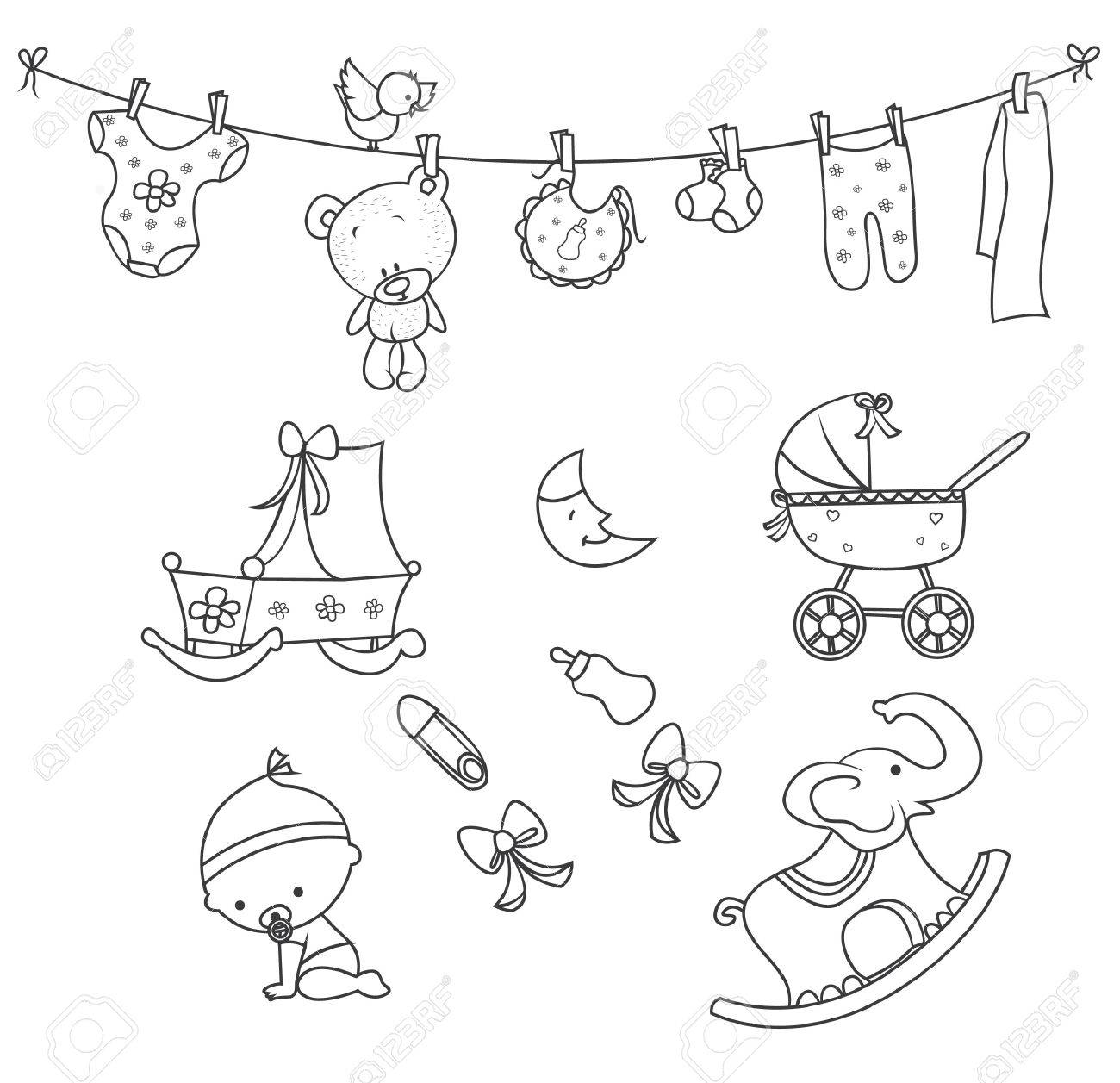 1300x1257 Baby Doodle Object Hand Drawn Sketch Doodle Royalty Free Cliparts