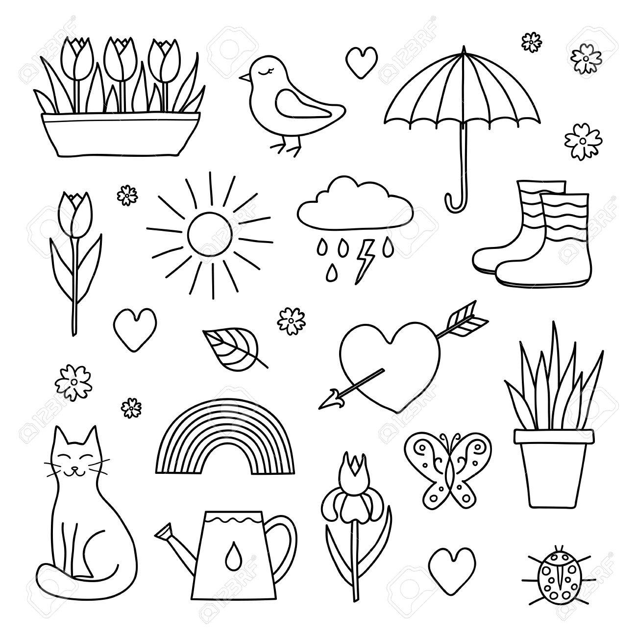 1300x1300 Collection Of Hand Drawn Outline Spring Items Including Sun