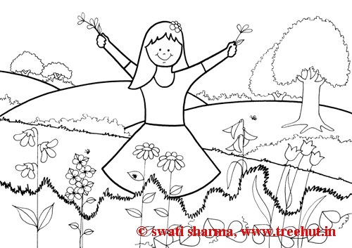 spring scene coloring pages - photo#45