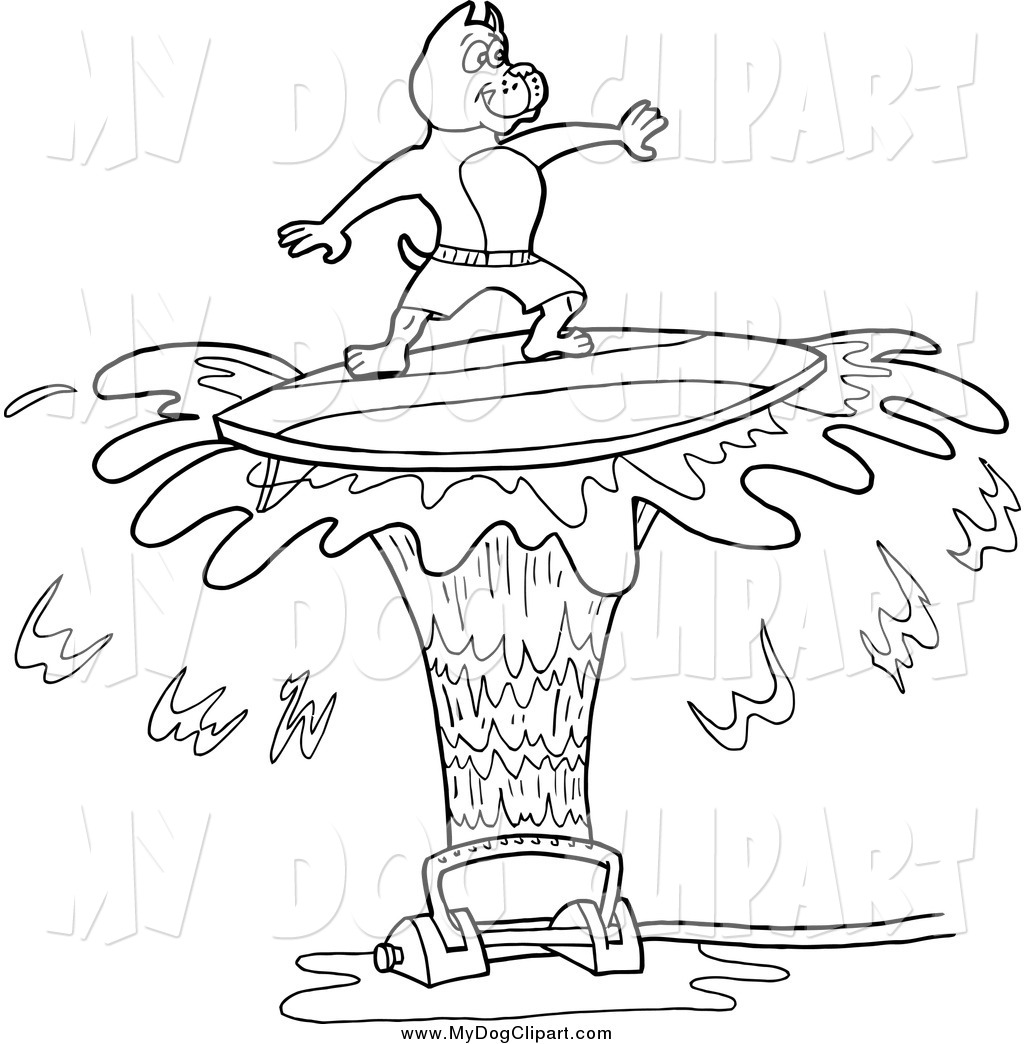 1024x1044 Clip Art Of A Lineart Pitbull Dog Surfing On Sprinkler Spray By