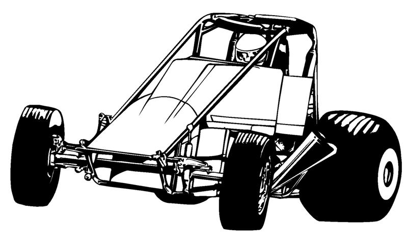 809x480 wingless sprint car 2 decal sticker