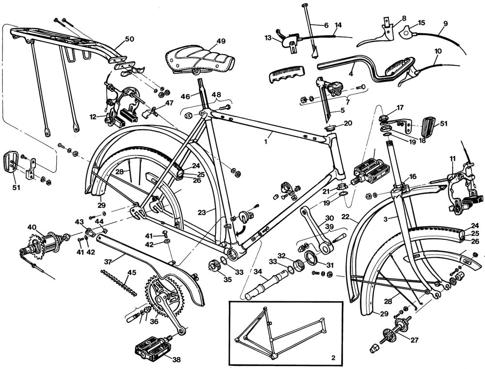 1000x762 Raleigh Sprite Dl85 Bicycle Exploded Drawing From 1977 Raleigh