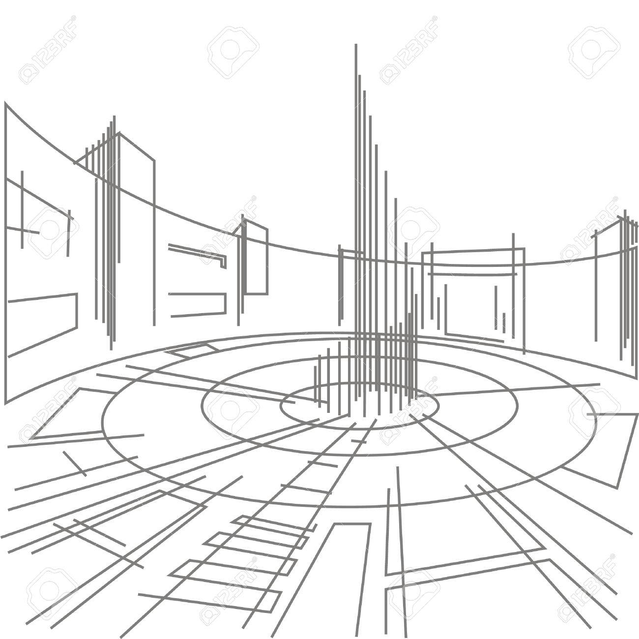 1300x1300 Linear Architectural Sketch Town Square Royalty Free Cliparts