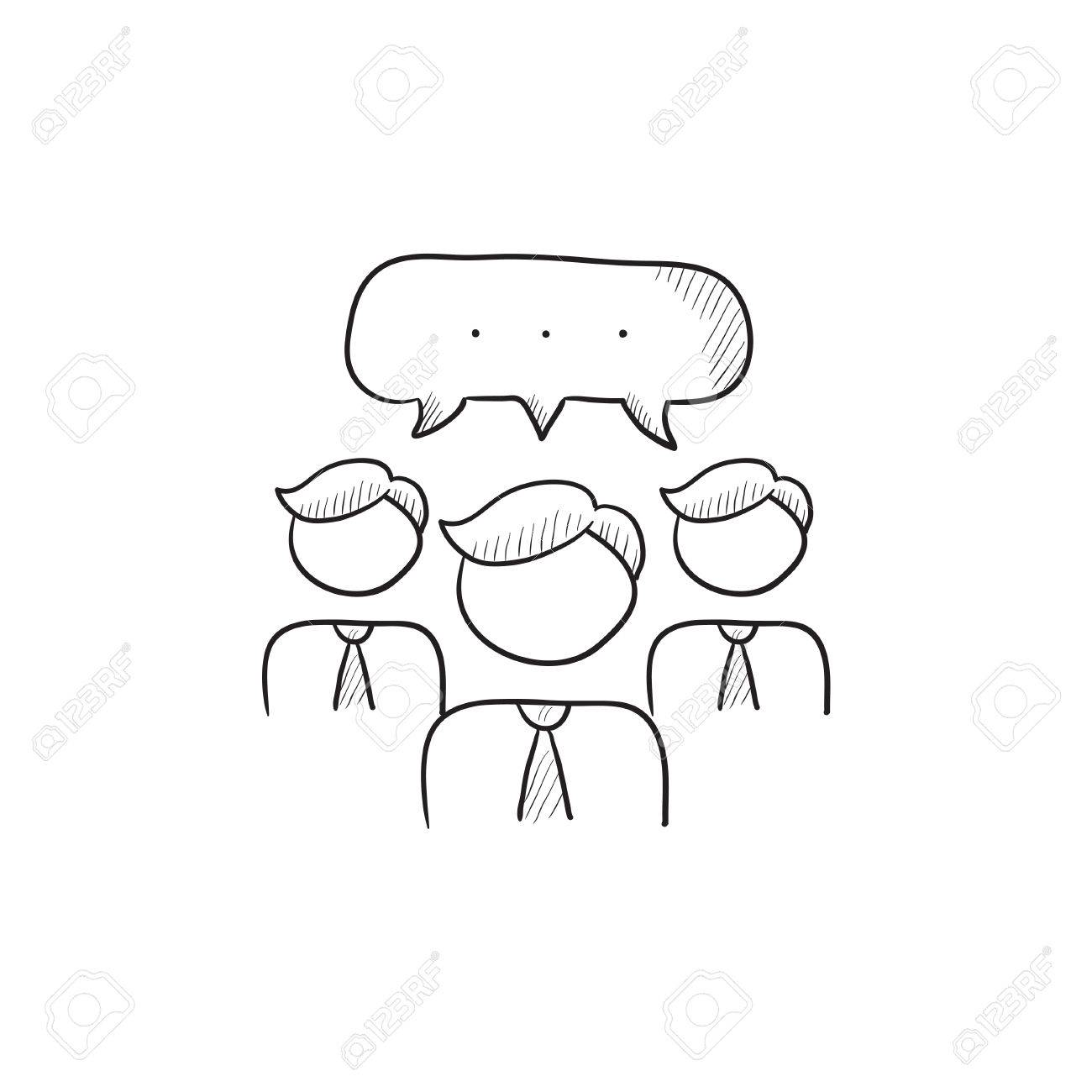 1300x1300 People With Speech Square Above Their Heads Vector Sketch Icon