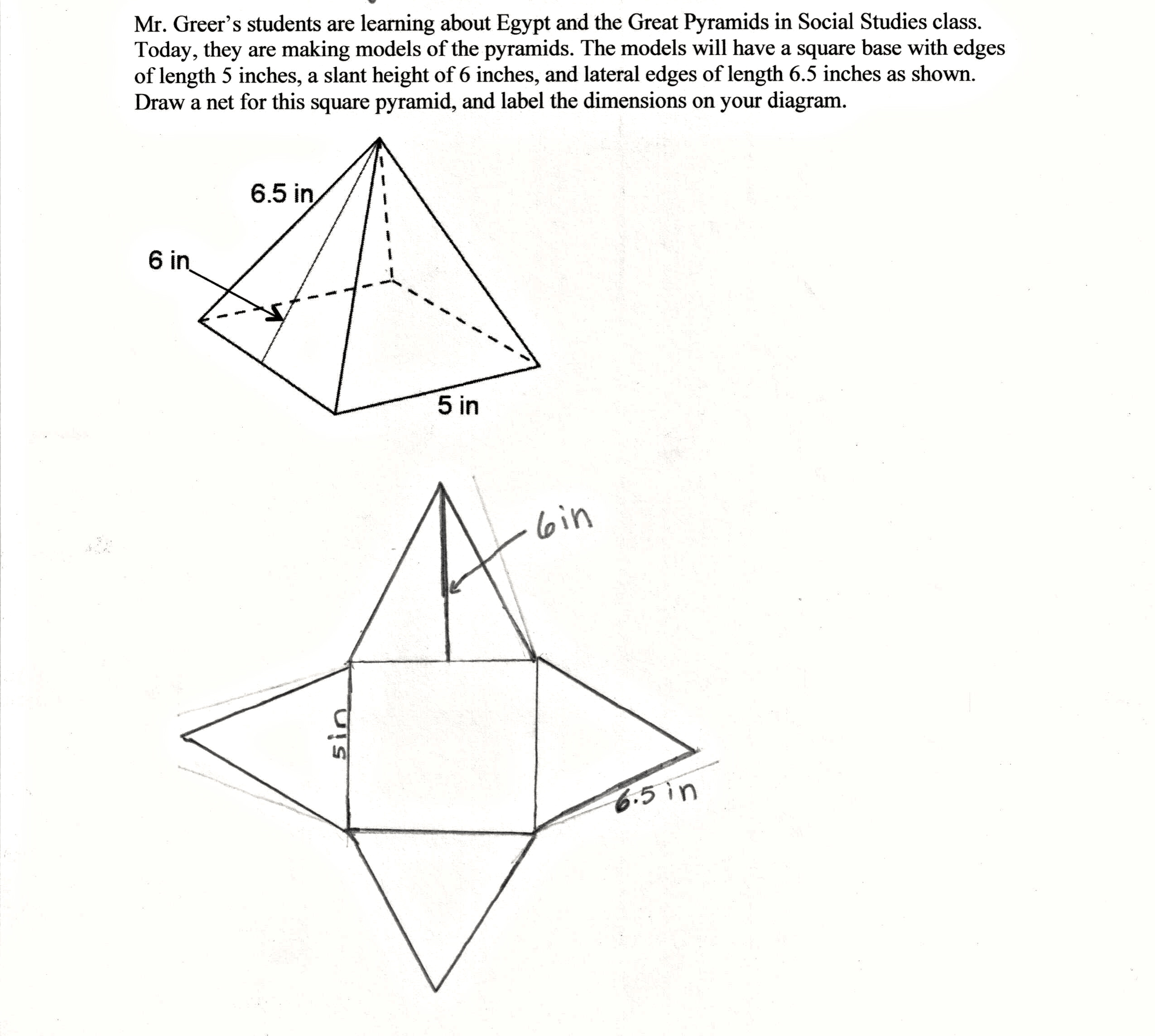 2550x2287 Pyramid Project Students Are Asked To Draw A Net Of A Three