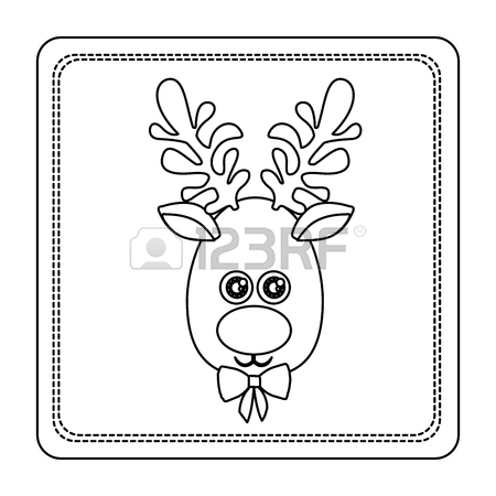 450x450 Sketch Silhouette Square Frame With Christmas Reindeer Face Vector