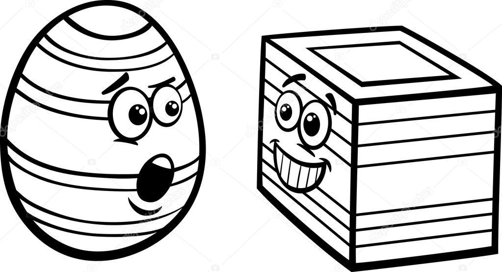 1023x554 Easter Square Egg Coloring Page Stock Vector Izakowski