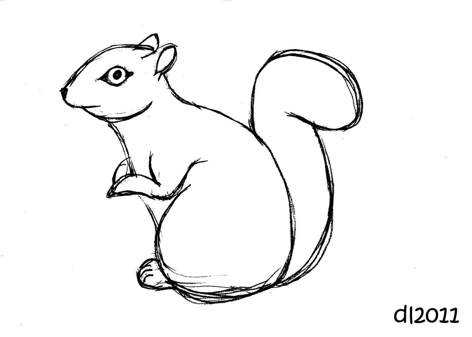1600x1143 Squirrel Drawing Easy Drawn Squirrel Line Drawing
