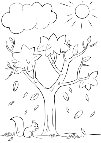 340x480 Autumn Squirrel Coloring Page Free Printable Pages