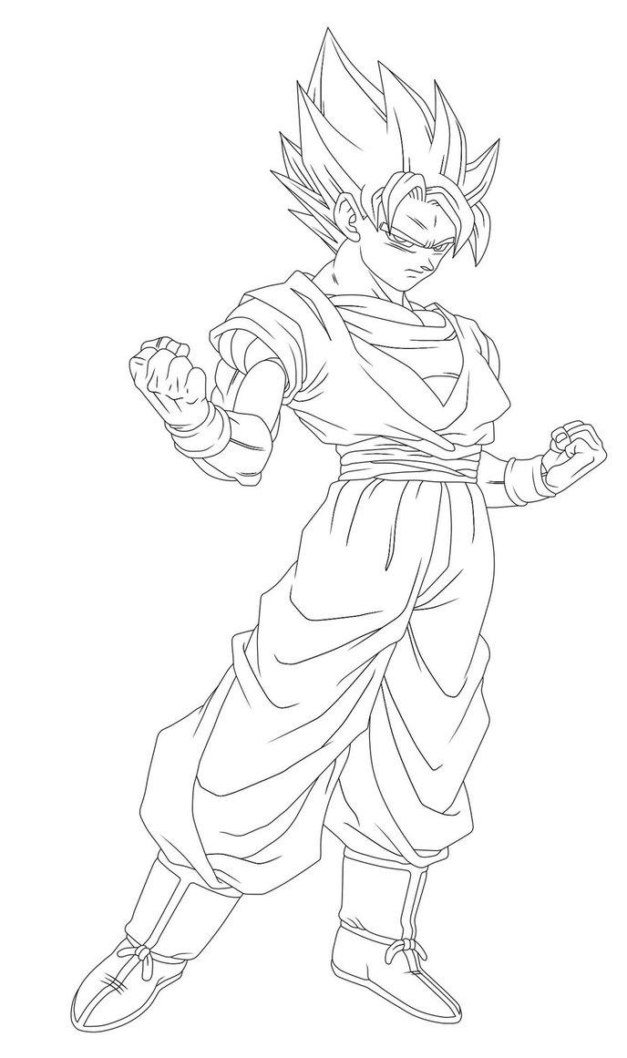 688x1161 Ssj Goku Lineart Restoration By Dranzertheeternal