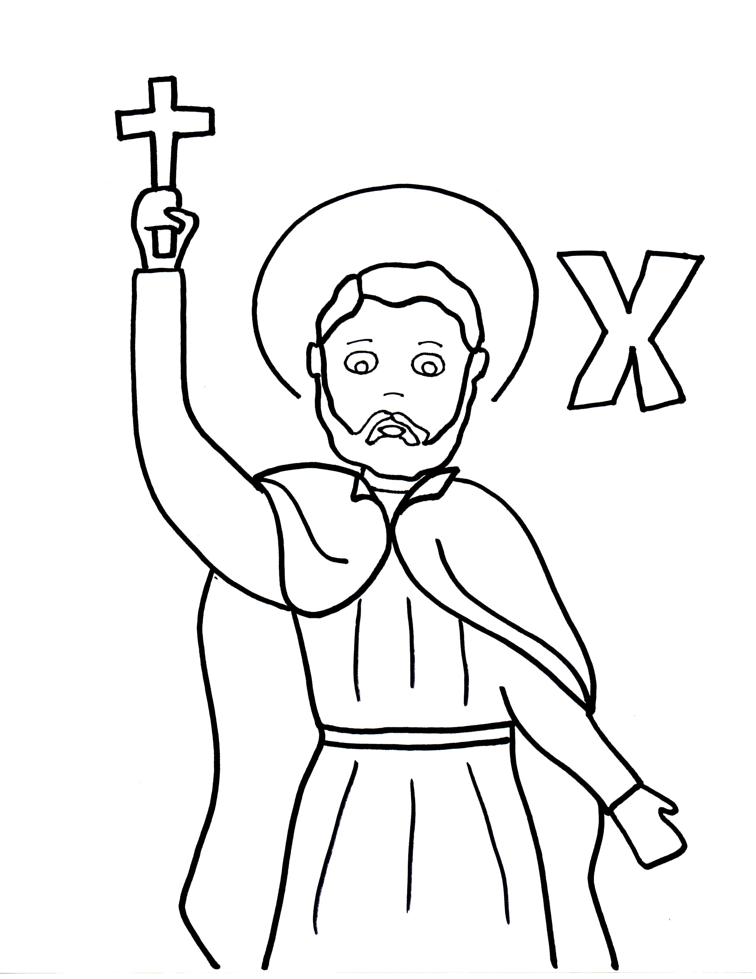 2550x3300 X Is For St. Francis Xavier Saints To Color