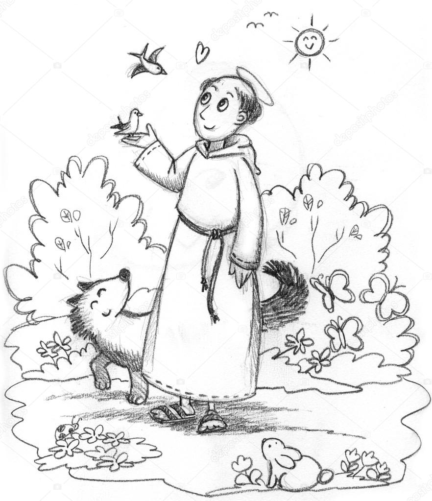 882x1023 Coloring Saint Francis Of Assisi Stock Photo Carlacastagno